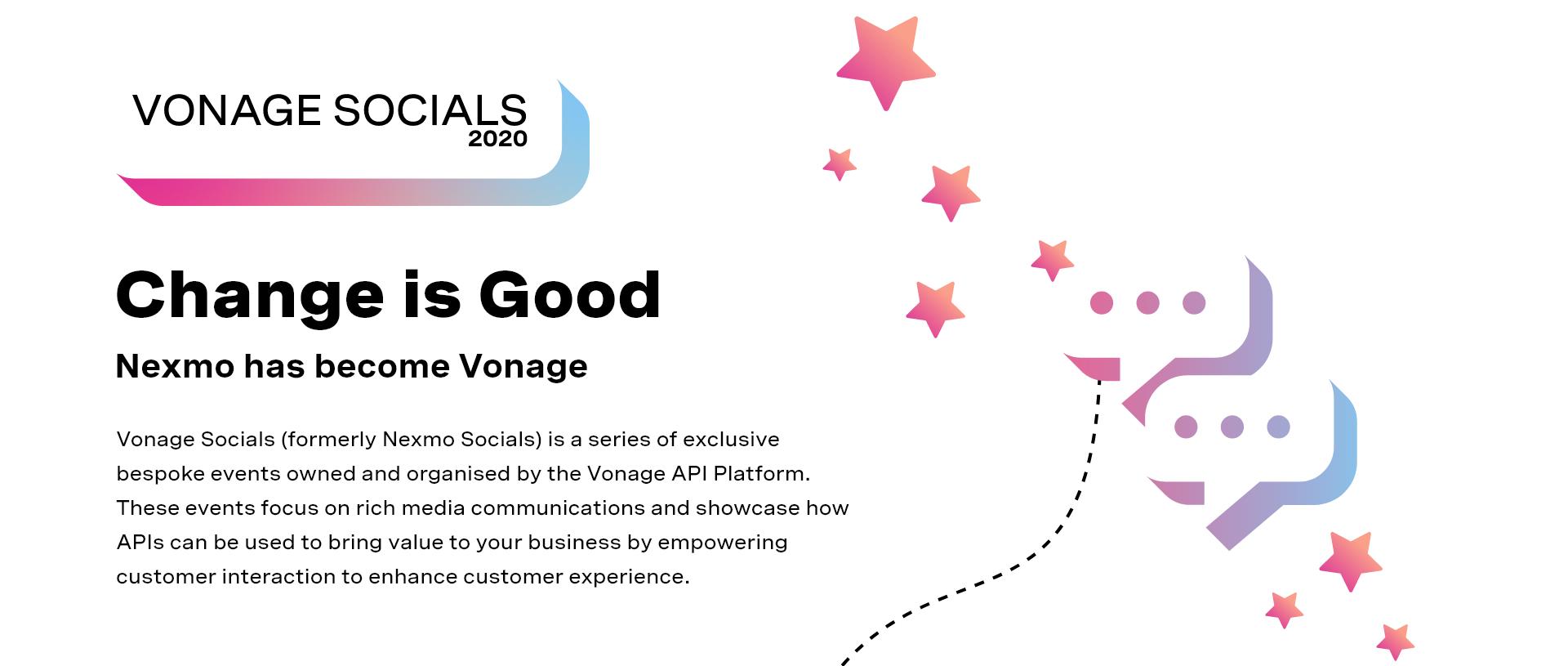 Vonage Socials website header